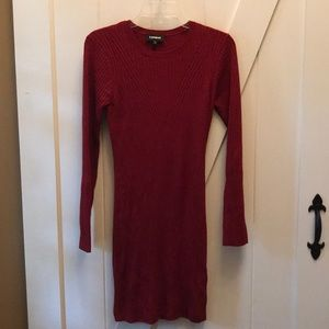 Express womens medium ribbed stretch dress EUC red